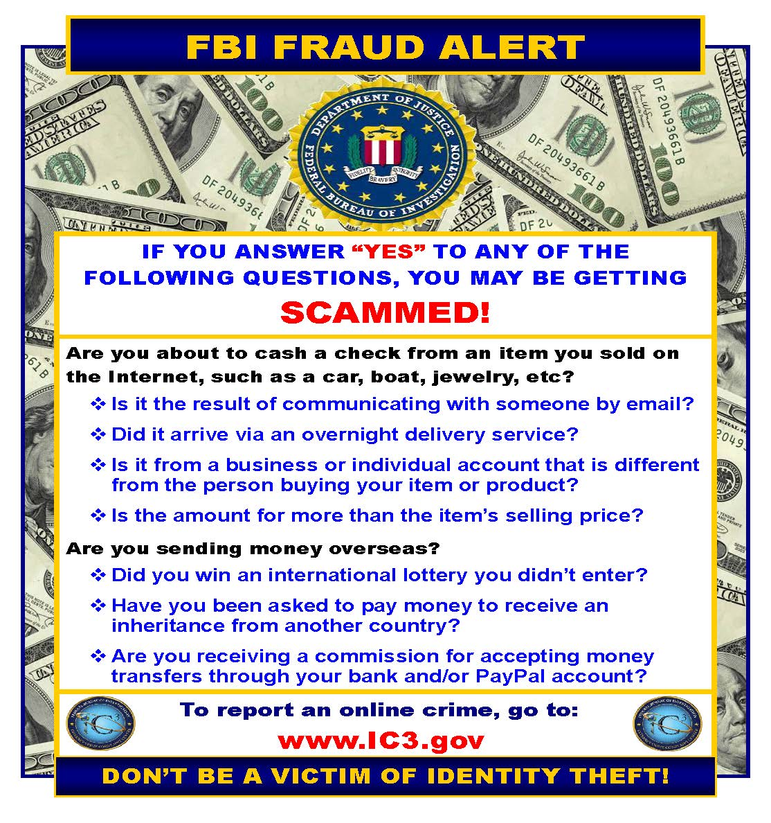 FBI fraud alert