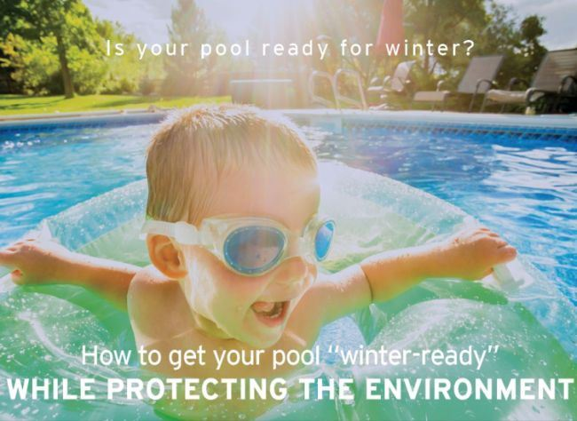 child swimming in pool- pool winterizing tips