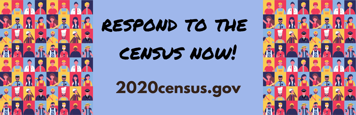 "Illustration of people with words ""respond to the census now 2020census.gov"" in the middle"