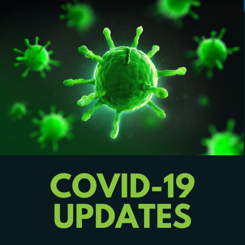 illustration of a microbe with the text COVID-19 updates underneath it