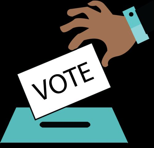 illustrated hand placing a vote in ballot box
