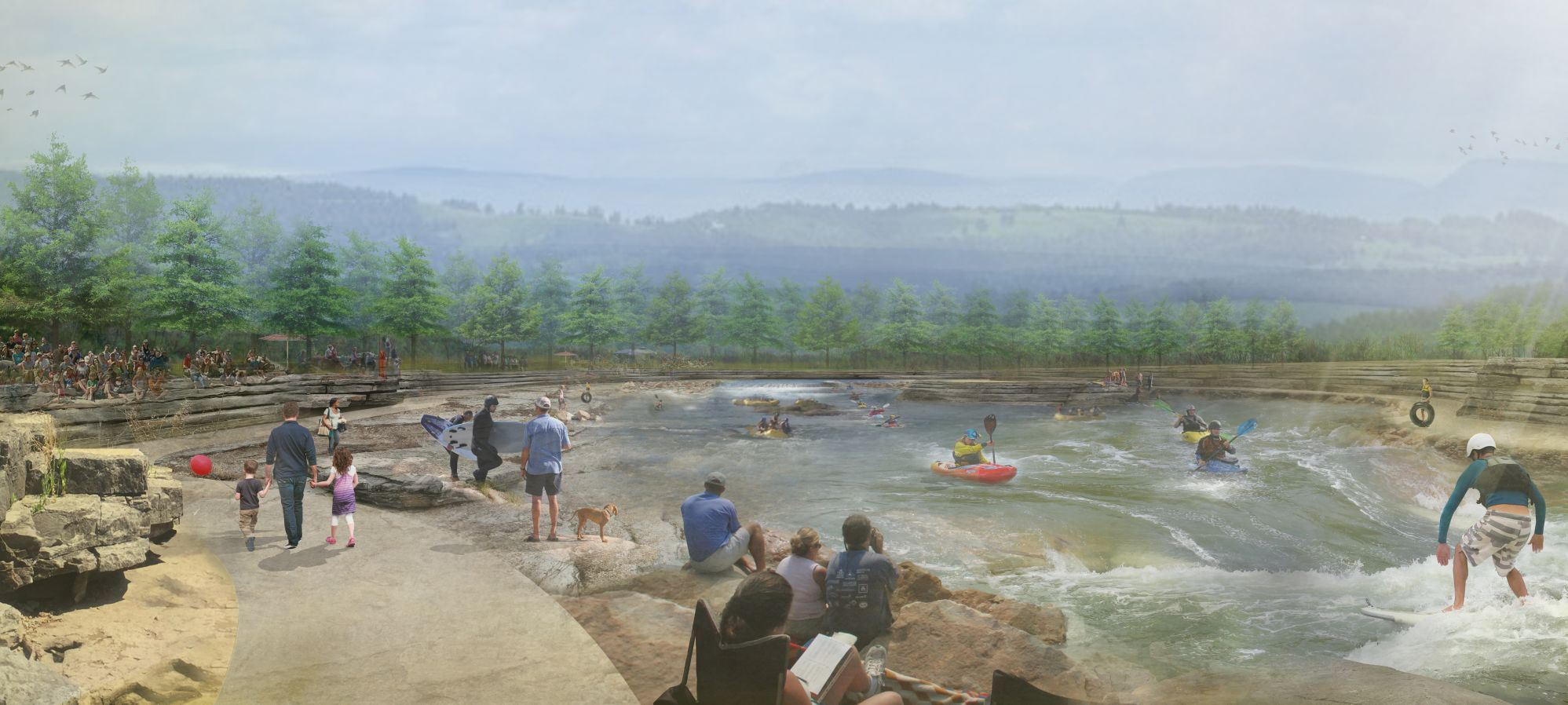 artistic rendering of the WOKA whitewater park- drawing of people watching kayaking with dam behind