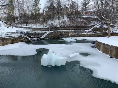 sager creek downtown with snow and ice