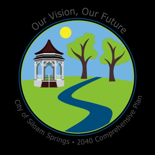 graphic for the 2040 Comprehensive Plan- illustration of gazebo, grass, sun, creek