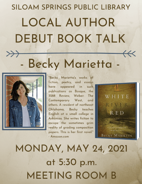 Flyer for Book Talk - White River Red by Becky Marietta