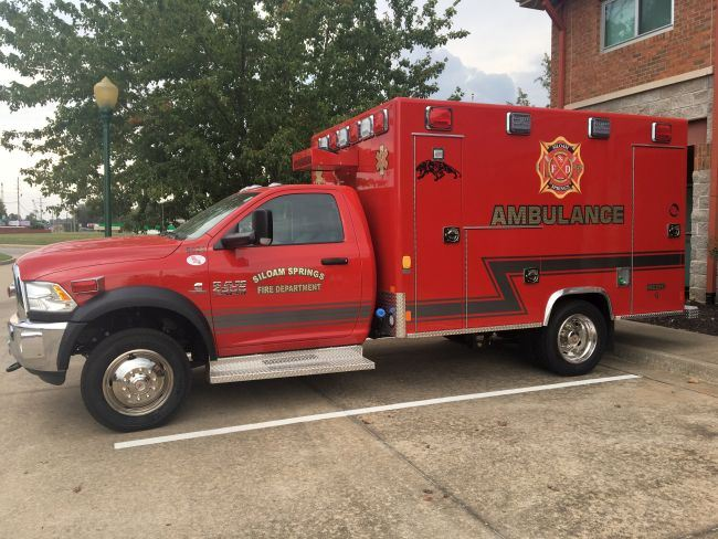 Ambulance parked in front of Fire Station