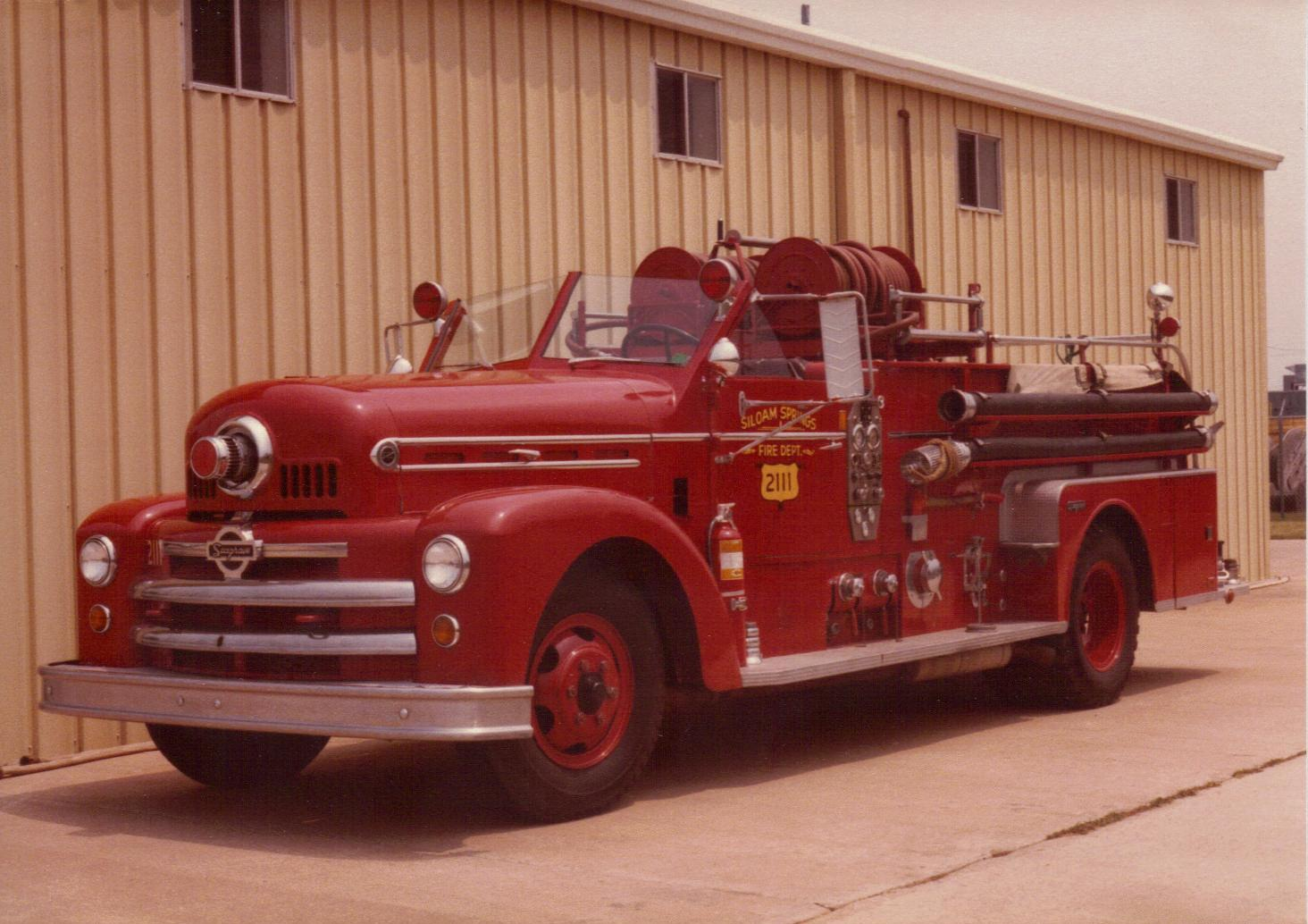 SSFD old 2111 1950s Seagrave open cab fire engine at Station 3