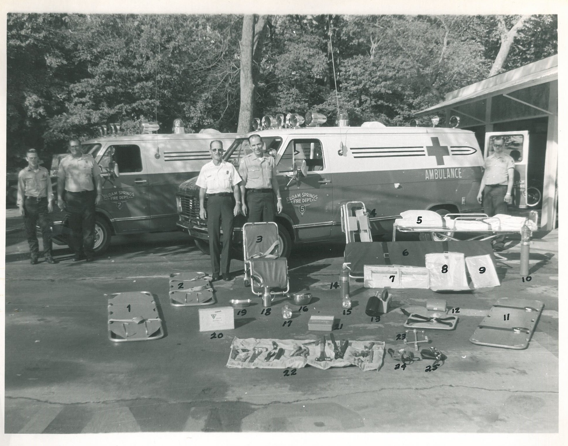 Siloam Springs Fire Department Ambulance equipment and Firefighters from early 1970s