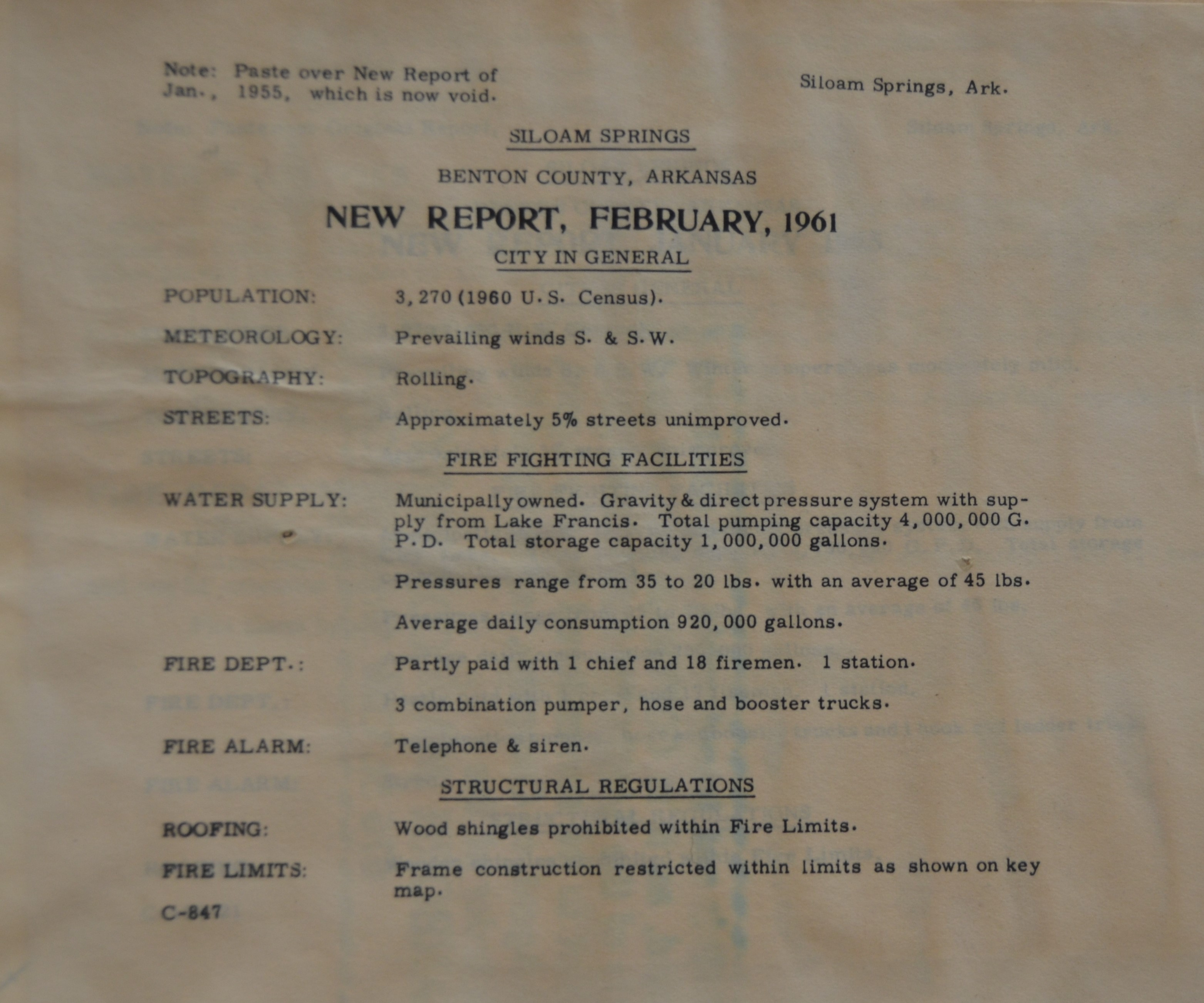 1961 document showing Fire Department consisted of 18 firefighters, 3 pumpers, and and one station,
