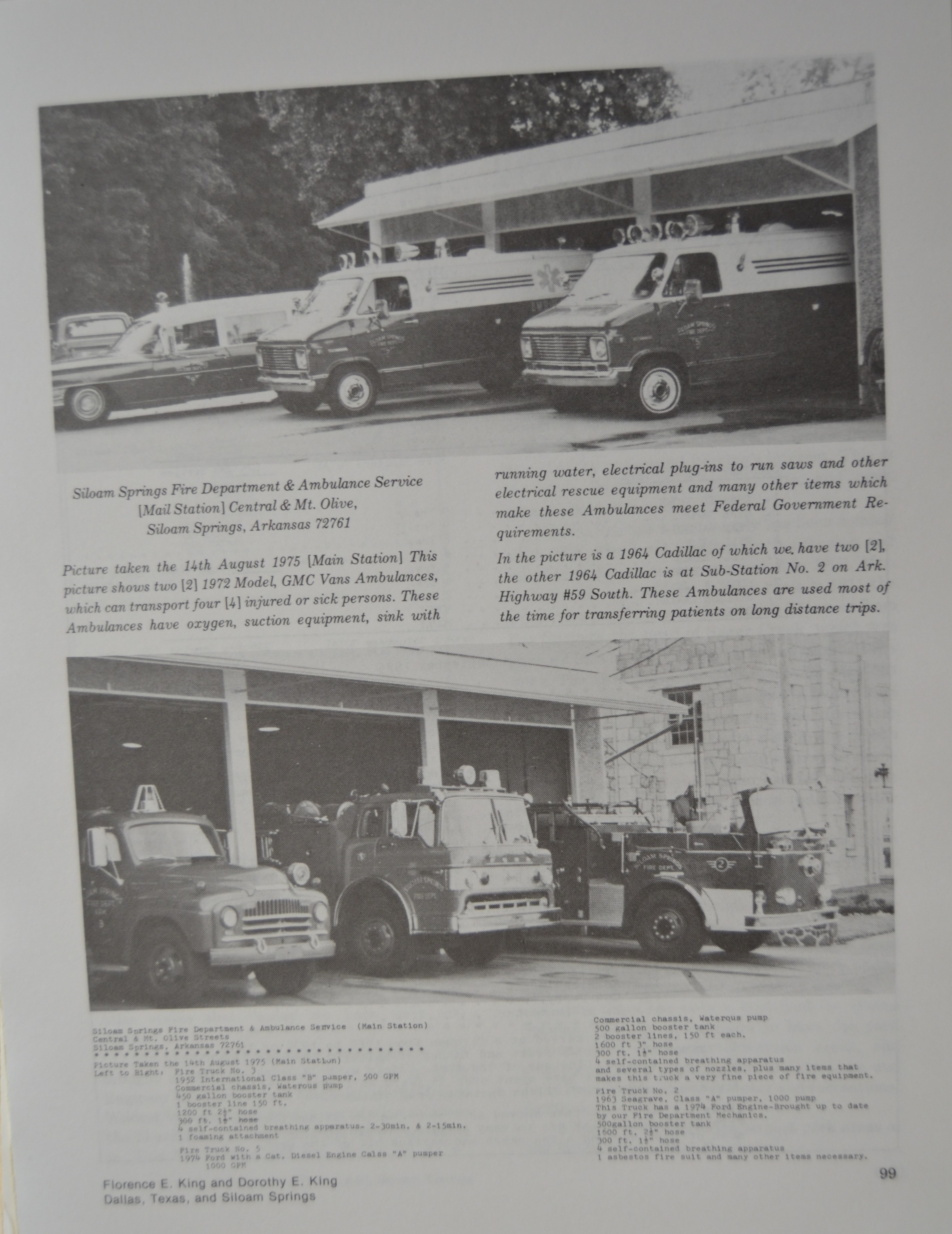 1973 SSFD fire trucks in front of station on Mount Olive