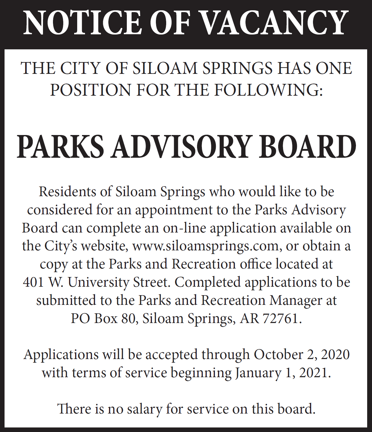Parks advisory board ad- tect only