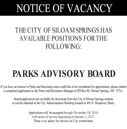 PArks Advisory Board advertisement