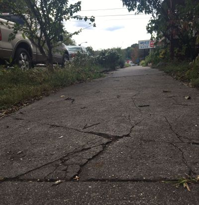 sidwalk in need of repair downtown